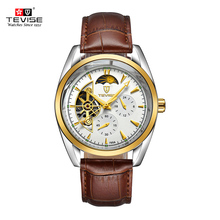 TEVISE Automatic Mechanical Watches For Man Luxury Watch Semi-automatic Trendy Business Style Hollow Mechanical Wristwatch