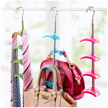 Saving Place Hanger Hook Holder 4 Layer Rotating Closet Hanger Hooks Storage Rack Organizer For Women Handbag Belt Tie Scarf