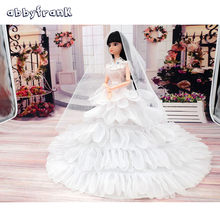 Abbyfrank Fashion Toy Doll Clothes Princess Evening Party Wedding Dress Clothes Clothing Gown Wears Veil For Doll Toys For Girls