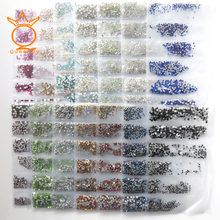 QUEENCY Glitter Nails Accessoires 1728pcs Non Hotfix Rhinestones Multi Color Flatback Glass For 3D Nail Art Crystal Decorations(China)