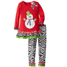 DTZ-499 Girls baby clothes set kids winter snowman red cotton clothing set corrugating zebra striped outfits high quality 2016