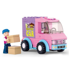 Sluban Girl's Dream of Supermarket Delivery Car Building Block toys B0520 102pcs 1dolls