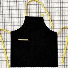 Black Canvas Apron Print Customized Logo&Name Cafe Bar Bistro Bakery Uniform Home Baking Chef Barista Florist Work Wear B86(China)