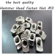 100pcs/lot High Quality T  nut Hammer Head Fasten Nut  M5 Connector Nickel Plated for 20 series Slot Groove 6