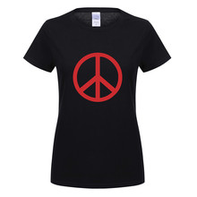 Omnitee Peace Logo T Shirt Women Girls Anti War Tops Cotton Fashion Short Sleeve No War T-shirt Tees Woman OT-535