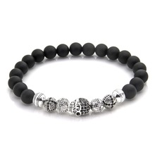 Thomas Skull Cross and Matted Obsidian Beads Elastic Bracelet, Rebel Heart Style Jewelry Gift For Men and Women TS-56