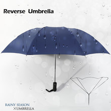 Invertido Reverso Ensolarado Chuvoso Guarda-chuva Revestimento Preto 3  Guarda-chuva Dobrável Automático Auto 89b6488a2e