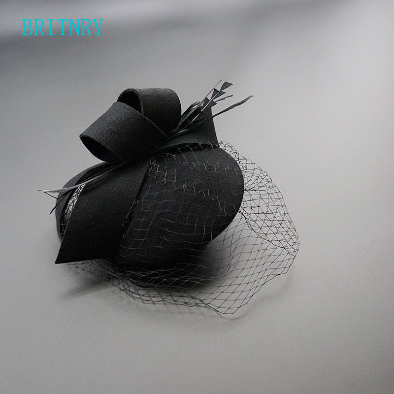 BRITNRY Hot Sale Black Wedding Hat Vintage Wedding Party Evening Women Birdcage Veil Flower Bridal Hat