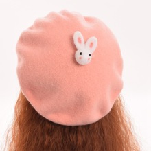 Pink/Brown Lovely Rabbit Beret Girls Cute Hat Headwear