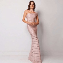 Top Quality Women Sexy One Shoulder Mermaid Maxi Long Black Bandage Dress 2017 Elegant Knitted Designer Long Dress(China)