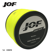 JOF 1000m 20LB - 100LB PE Multifilament 4 Strands Braid Line Ocean Fishing Super Strong Carp Colorful Braided Fishing Line(China)
