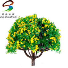 50pcs 2.8 inch Scenery Landscape Train Model Trees w/ Yellow Flowers - Scale 1/100(China)