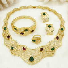 Liffly 2017 New Chunky Fashion Italy African Bridal Gold Crystal Red Green Stone Jewelry Set Lady Women Wedding Jewelry