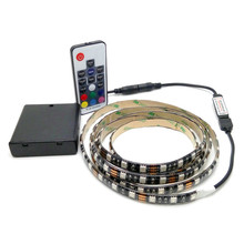 Battery LED Strip 5050 RGB 5V Black PCB Tape Lighting DIY Home Decorative Lamp With Battery Box + 17Key RF Controller