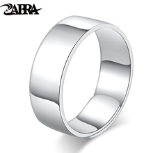 ZABRA Solid Pure 999 Sterling Silver 7mm Opening Women Men Wedding Ring Vintage High Polish Adjustable Summer Fashion Jewelry(China)
