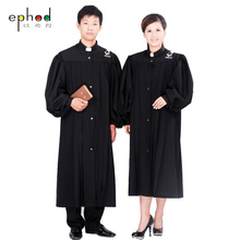The priest's gown holy Clothing missionary Gown Robe Black Priest Cassock Robe Gown Clergyman Vestments Single Breasted Button(China)