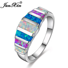 JUNXIN New Mystic 925 Sterling Silver Filled Wedding Jewelry Colorful Rainbow Fire Opal Rings For Women Christmas Ring RS0214(China)