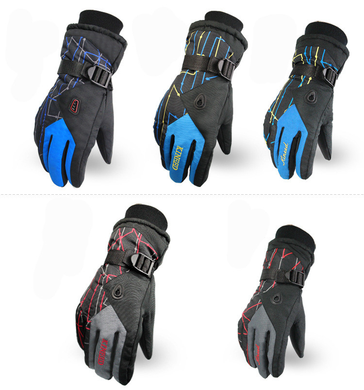 Men Women Ski Gloves Winter Waterproof Anti-Cold Warm Gloves Outdoor Sport Snow Sportswear Skiing Gloves 6