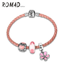 2017 New Fashion Leather Wrap Bracelet Daisy Flower Dangle Charms Bangles Pink For Women Fashion Silver Color Charm Bracelet(China)