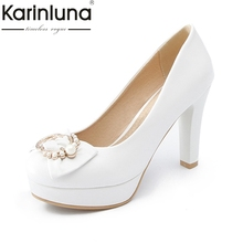 Buy Karinluna 2018 Large Size 31-47 Fashion Brand Shoes Women Thin High Heels Bowtie Platform Woman Shoes Slip Woman Pumps for $28.51 in AliExpress store