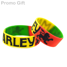 Promo Gift 25PCS/Lot Segemented Colour Silicone Bracelet for Bob Marley Fans Gift Wristband(China)