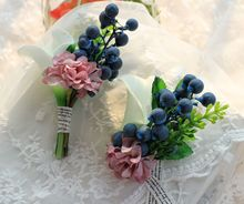 New 2pcs PU Artificial Lily Pip Berry Bride Groom Boutonniere Corsage Wrist Flower Wedding Decor White Green  BW014