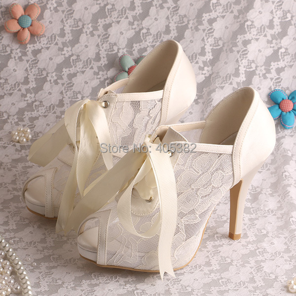 Wedopus Lace-up 2016 Women Cream Lace Wedding Shoes Bridal Peep Toe Dropshipping<br><br>Aliexpress