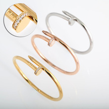 Wholesale nail love Bracelet Bangles 316L Titanium steel Luxury fashion bracelet puleiras cuff bangle for women men