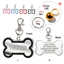 4 Colors Bone Shape Personalized Dog Cat ID Tags Customized Laser Engraved Cat Puppy Name Tag Phone No. Free Bell gift