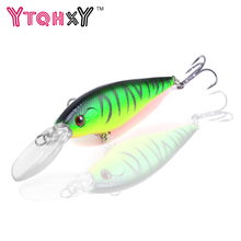 YTQHXY 2017 Good Fishing Lure Minnow 11cm 10g Artificial Hard Bait 6# Hook 3D Eyes Wobbler Crankbait YE-73Y(China)
