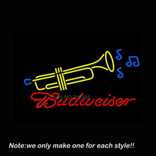 Budweiser Trumpet Neon Sign Art Glass Tube Business Pub Handcraft Neon Bulbs Store Display Decorate Bright Gifts 30x18(China)