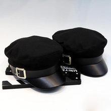Gorros negros militares Otoño Invierno moda lana Pu cuero Patchwork Newsboy  con cinturón Gorras femeninas d25029c0534