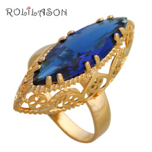 ROLILASON Royal Blue Zircon Gold Tone  Engagement Fashion Jewelry for Women Luxury Rings USA Size #7#8#9#10#11 JR2138