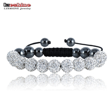 LZESHINE Shamballa Bracelets & Bangles Pave 10mm Crystal AB Clay Ball(11Pcs) Shamballa Bracelet Mix Colors Pulseras SHAFSmix1(China)