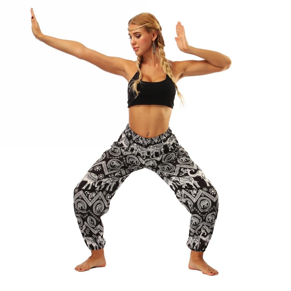 TL008- Black and white elephant wide leg loose yoga pants leggings (1)