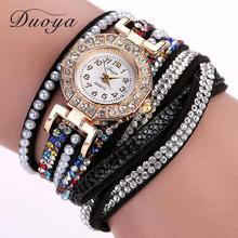 Duoya Luxury Brand Designer Ladies Watch Women Pearl Scale Bracelet Quartz Wristwatch Crystal Diamond Clock Women Dress Watch(China)