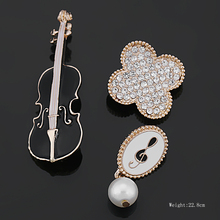 New Arrival Set of 3 Enameled Violin Music Signs and Four Leaf Clover Brooch Lapel Pins for Dress Bags Heels or Scarf etc