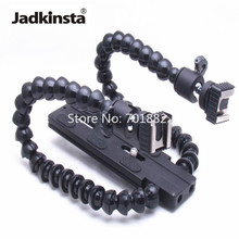 Jadkinsta Flexible Dual Arm Camera Flash Bracket Holder Two Hot Shoe Mounts Photography Flash Holders Macro Shooting Accessories