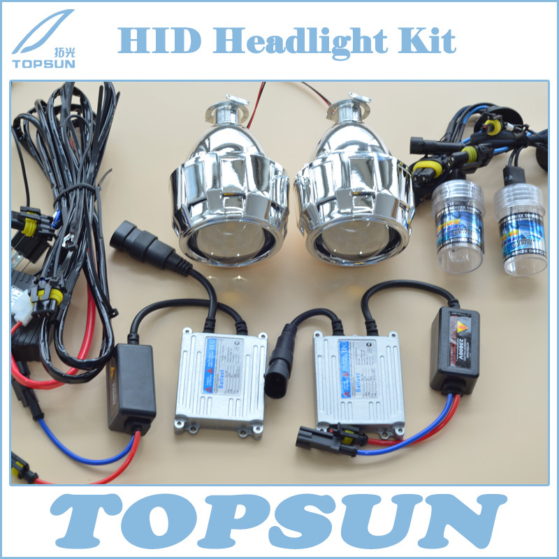 Car Styling HID Headlamp Retrofit Kit Contains H1 35W Xenon bulb, Ballast, 2.5 Projector Lens, Shroud and  CCFL Angel Eye, Wire<br><br>Aliexpress