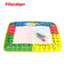 45x29cm 4 colors Russian Language Water Drawing Mat with 2 pcs magic pen / doodle painting rug gift for kids 8875-2(China)