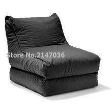 2-in-1 Convertible Bean Bag Cover Lounger Double Seater Black