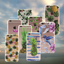 Cheapest Cute Fruit Pineapple Cell Phone Case For iphone 7 Case Telefon Hoesje Bird Flower Soft Cover For iphone 5S 6S 7 Plus