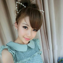 1Pcs Sweet Cat's Ears Headbands Rhinestone Cat Ears Headbands Hair Hoop Accessories Pearl Headdress for Women