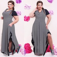 Big size 6XL 2017 Fat MM Woman dress Summer casual black and white stripe split dresses plus size women clothing 6xl dress(China)