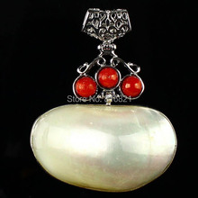 ( 1 piece/lot) New Fashion Beautiful Wrapped Red Coral Mother of Pearl MOP Shell Pendant Beads