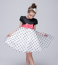 2017 Polka Dot Organza Girls Flowers Dress Hand Ball Gowns Princess Wedding Party Dresses kids frock designs For 2 3 4 5 6 Years