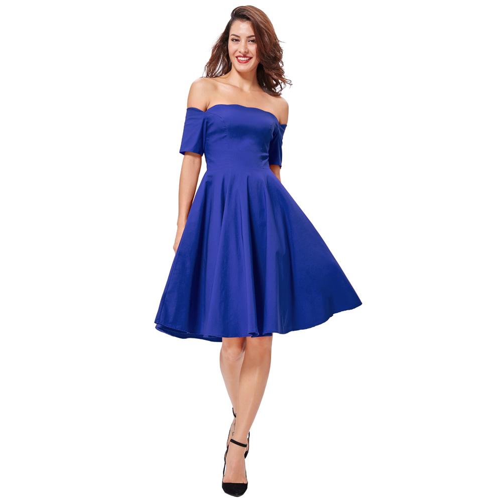 Belle Poque 17 Women Dress Robe Vintage Off Shoulder Black Summer Dress Jurken 1950s 60s Retro Rockabilly Swing Party Dresses 33