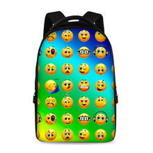 17 inch cut emoji pattern latest style school backpack youth boys and girls laptop bag can store 15 inch computer