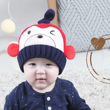 [AngelBola] 2017 Children Cap Autumn And Winter Of The Monkey Modeling Double Ball Earning Cashmere Warm Wool Hat C-076(China)