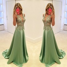 Exquisite Vestidos De Festa Satin Lace Appliques Long Evening Dresses 2016 V Neck Sleeveless A Line Floor Length Evening Dress